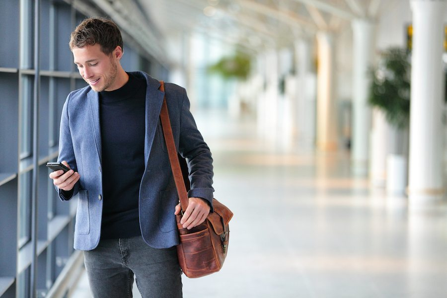 Man using airport security apps